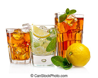 Three glasses of refreshing cold drinks