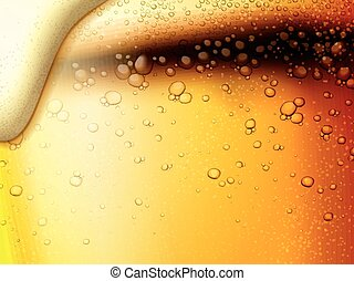Refreshing fizzy beer background, extremely close up at golden color beer and bubbles in 3d illustration