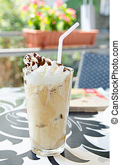 Refreshing frappe - Refreshing frappuccino with whipped...
