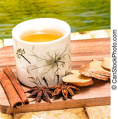 Refreshing Ginger Tea Shows Teacup Drinks And Refreshes