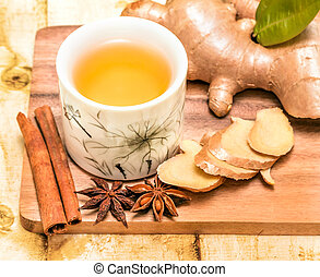 Refreshing Ginger Tea Shows Teacup Spices And Cup