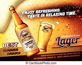 Refreshing lager beer ads, best summer drink ads with glass beer cup and bottle isolated on fizzy beer background in 3d illustration