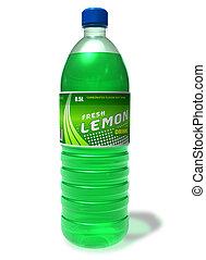 Refreshing lemon drink in plastic bottle