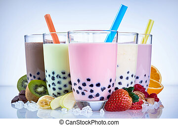 Refreshing milky bubble tea with tapioca pearls