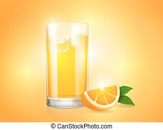 Refreshing orange shining background with glass and slice of citrus vector.