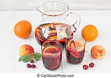 Refreshing red wine sangria drink