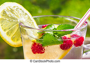 Refreshing summer cocktail with lemon, raspberry and mint close-up