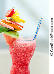 Refreshing summer drink with strawberries