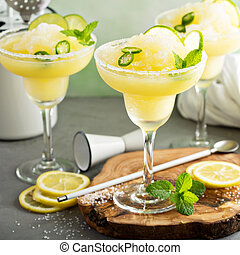 Refreshing summer margarita cocktail with fruits and hot pepper