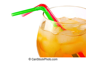 Tequila sunrise cocktail heart ice isolated on white background