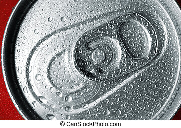 Close-up view of the top of a canned drink with condensation.