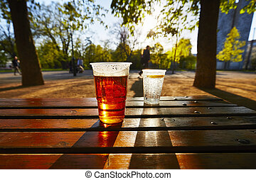 Refreshment in the garden - Cups of beer and water in the...