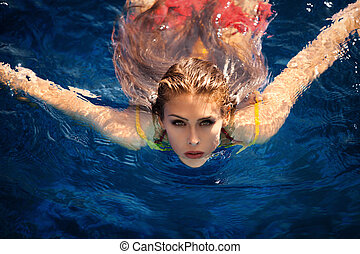 young woman in pool swiming looking at camera shot from above