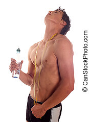 Refreshment - Man drinking water and refreshment his body on...