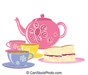 an illustration of a pink teapot with matching tea cups and a plate of slices of victoria sponge cake on a white background