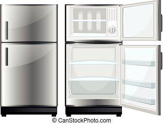 refridgerator, porte, ouvert, fermé