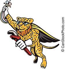 refrigeración, mecánico, leopardo, superhero, caricatura