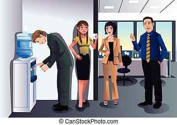 refrigerador, água, conversando, pessoas negócio