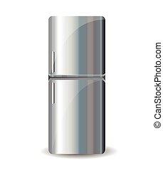 refrigerador, branca, isolado, fundo