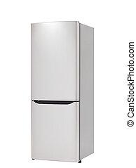 refrigerador, branca, modernos, isolado, fundo