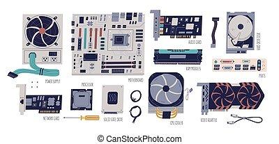 refrigerador, cabos, portos computador, cartão, fornecer, motherboard, vetorial, coloridos, apartamento, collection., poder, ilustrações, áudio, set., hardware, processador, vídeo, processador, adapter., rede