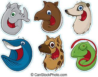 refrigerador, cara, (animals), magnet/stickers, sonriente,...