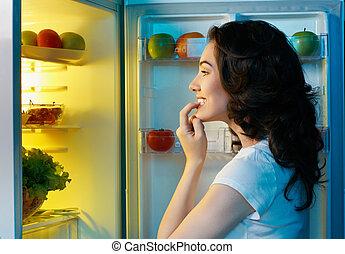 refrigerador, com, alimento