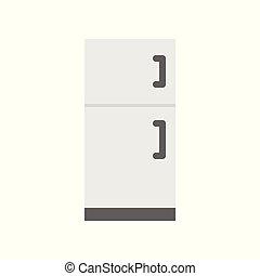 refrigerador, icono, aislado, blanco, plano de fondo, plano, diseño