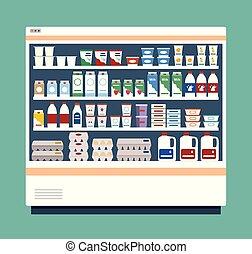 refrigerador, leiteria, products., comercial, cheio