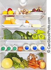 refrigerador, sano, concepto, Lleno, condición física