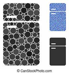 refrigerador, spheric, mosaico, ícone, itens