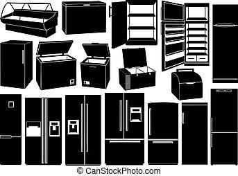 refrigeradores, diferente, jogo