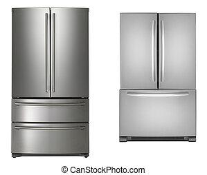 refrigeradores, dos, aislado