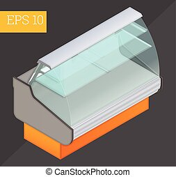 Refrigerated counter isometric vector illustration