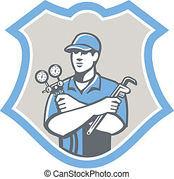 Illustration of a refrigeration and air conditioning mechanic holding a pressure temperature gauge and ac manifold wrench front view set inside shield on isolated on background done in retro style