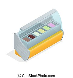 Refrigeration equipment for ice cream for supermarkets, shops, cafes and restaurants. Flat 3d isometric illustration