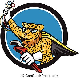 Refrigeration Mechanic Leopard Superhero Circle Cartoon
