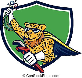Refrigeration Mechanic Leopard Superhero Crest Cartoon