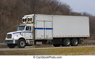 Refrigeration Truck on the Highway with Blank Side for...