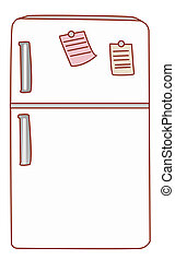 a nice drawing of a white refrigerator