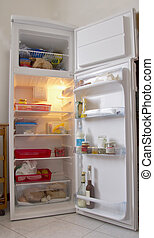 Refrigerator - An open white refrigerator with stuff within