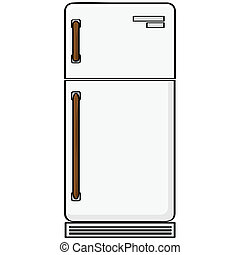 Refrigerator - Cartoon illustration showing an old-style...
