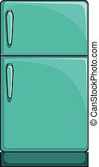 Refrigerator - Close up large blue refrigerator