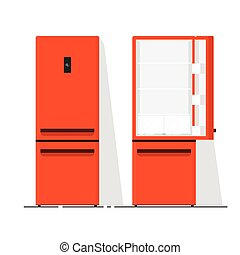 Refrigerator empty vector illustration, flat cartoon open and closed fridge isolated