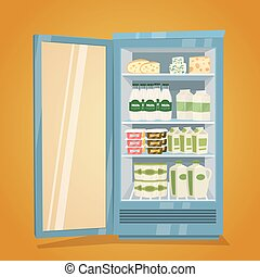 Refrigerator Full of Dairy Products Illustration
