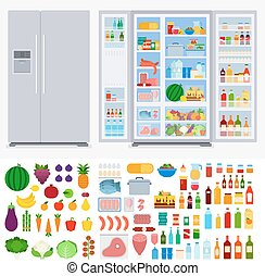 Refrigerator full of different products