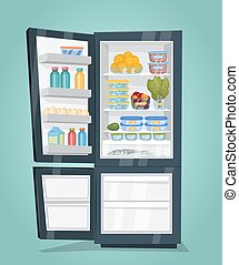 Refrigerator Full of Food Vector in Flat Design