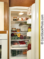 Refrigerator full with some kinds of food - Fridge open full...