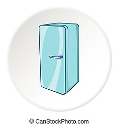 Refrigerator icon, cartoon style