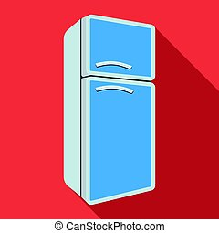 Refrigerator icon in flate style isolated on white background. Kitchen symbol stock vector illustration.